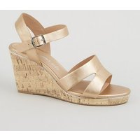 Wide Fit Rose Gold Leather-Look Cork Wedges New Look Vegan