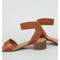 Wide Fit Tan Elastic Strap Block Heel Sandals New Look Vegan