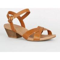 Wide Fit Tan Leather-Look Cross Strap Sandals New Look Vegan