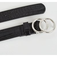 Black Faux Croc Circle Buckle Hip and Waist Belt New Look