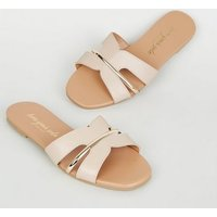 Pale Pink Leather-Look Metallic Trim Sliders New Look