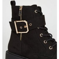 Black Suedette Lace-up Chunky Biker Boots New Look
