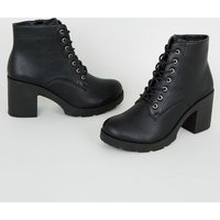 Black Leather-Look Lace Up Heeled Boots New Look