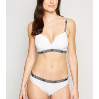 White Brooklyn Slogan Non Wired Bra New Look