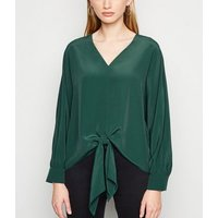 Dark Green Long Sleeve Tie Front Blouse New Look