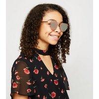 Girls Rose Gold Metal Bar Cat Eye Sunglasses New Look