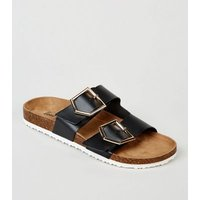 Black Leather-Look Buckle Strap Footbed Sliders New Look