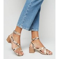 Stone Faux Snake Strappy Block Heel Sandals New Look