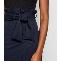Missfiga Navy High Tie Waist Wrap Midi Skirt New Look
