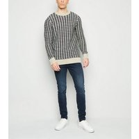 White Diamond Knit Crew Neck Jumper New Look