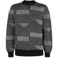 Black Abstract Stripe Crew Jumper New Look