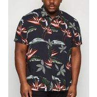Plus Size Black Tropical Short Sleeve Shirt New Look