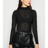 Black Mesh Stripe High Neck Bodysuit New Look