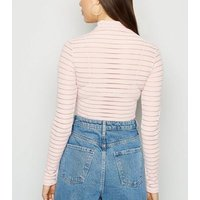 Pink Mesh Stripe High Neck Bodysuit New Look
