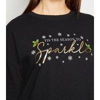 Black Tis The Season To Sparkle Christmas Jumper New Look