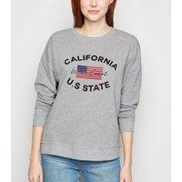Grey USA Flag California Slogan Sweatshirt New Look