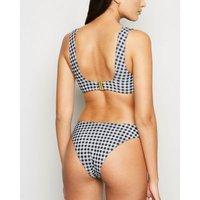 Black Gingham Square Neck Crop Bikini Top New Look