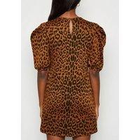 Brown Leopard Print Puff Sleeve Dress New Look