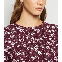 Dark Red Floral Spot Soft Touch Mini Smock Dress New Look