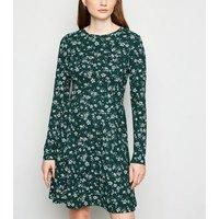 Green Floral Spot Skater Dress New Look