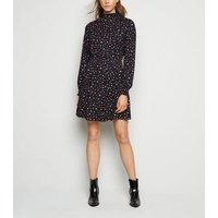 Black Floral Shirred Mini Smock Dress New Look