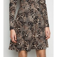 Brown Leopard Print Soft Touch Skater Dress New Look