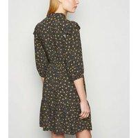 Black Spot Frill Trim Smock Dress New Look