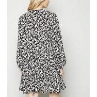 Black Floral Print Smock Shirt Dress New Look