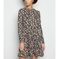 Black Floral Soft Touch Tiered Smock Dress New Look