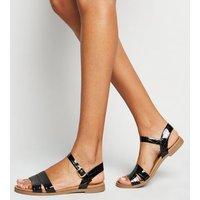 Wide Fit Black Faux Croc Footbed Sandals New Look Vegan