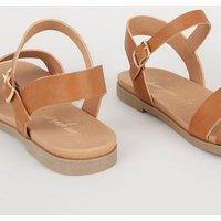 Wide Fit Tan 2 Part Footbed Sandals New Look Vegan
