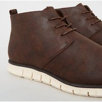 Dark Brown Leather-Look Boots New Look