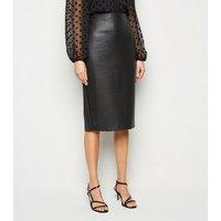 Black Coated Leather-Look Midi Pencil Skirt New Look