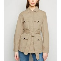 Stone Belted Lightweight Jacket New Look