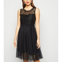 Urban Bliss Black Lace Mesh Skater Dress New Look