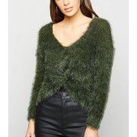Urban Bliss Khaki Fluffy Knit Twist Back Jumper New Look