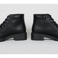 Wide Fit Black Leather-Look Chunky Hiker Boots New Look Vegan