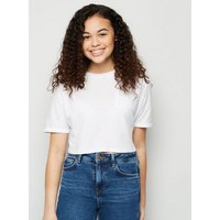 White Pocket Front Crop T-Shirt New Look