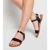 Black Faux Snake Footbed Sandals New Look Vegan