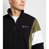 Jack & Jones Black Zip Neck Sweatshirt New Look