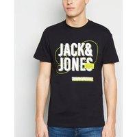 Jack & Jones Black Neon Slogan T-Shirt New Look
