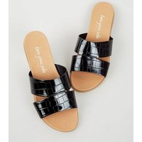 Black Patent Faux Croc Footbed Sliders New Look Vegan