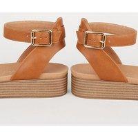 Tan Leather-Look Flatform Footbed Sandals New Look Vegan