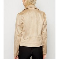 Camel Suedette Biker Jacket New Look