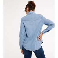 Blue Denim Pocket Front Shirt New Look