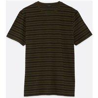 Mens Dark Green Stripe Short Sleeve T-Shirt New Look