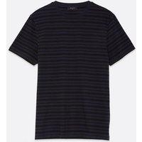 Men's Navy Stripe Short Sleeve T-Shirt New Look