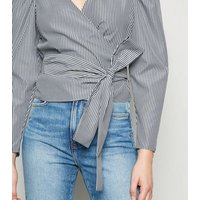 Light Grey Stripe Poplin Wrap Blouse New Look