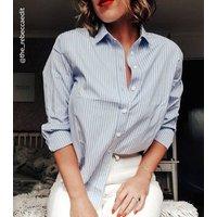 Blue Stripe Long Sleeve Poplin Shirt New Look