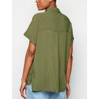 Olive Pocket Front Short Sleeve Shirt New Look
